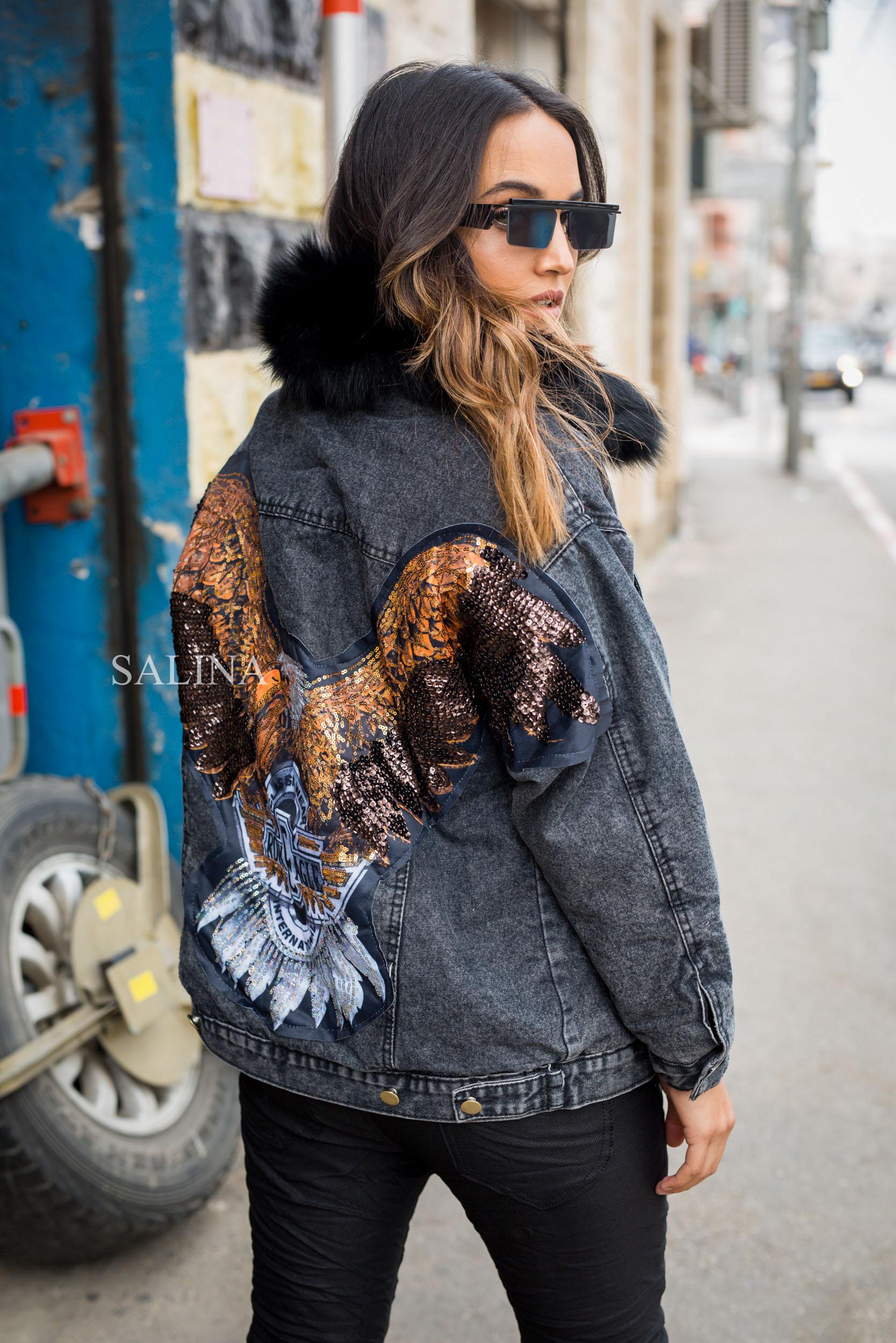 ג'קט ג'ינס שחור שילוב פרווה