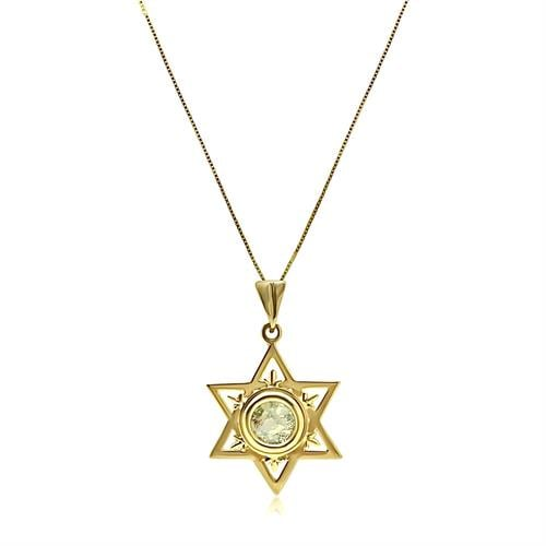 שרשרת מגן דוד מזהב עם זכוכית רומית