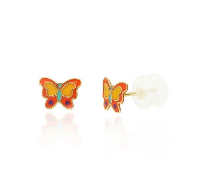 עגילי ילדות פרפרים מזהב צבעוניות עגילים לילדות בזהב 14K
