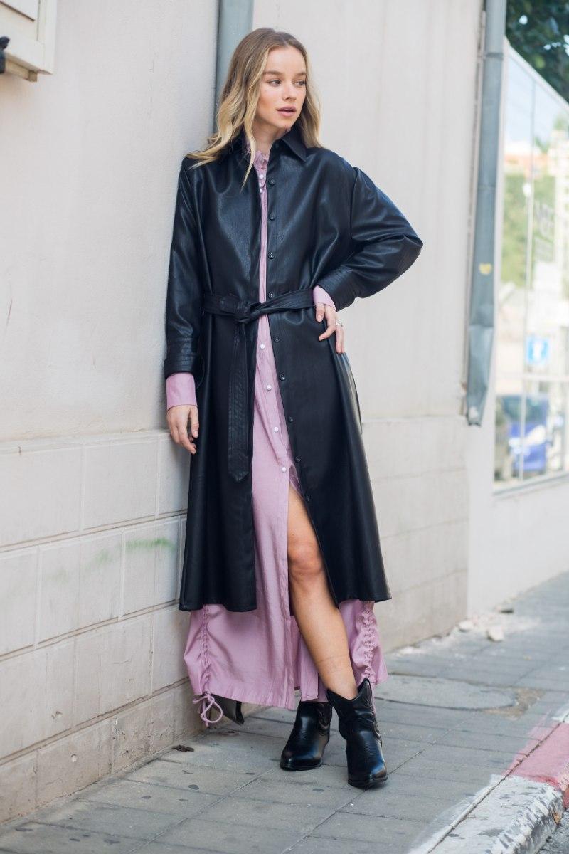 מעיל שמלה דמוי עור שחור