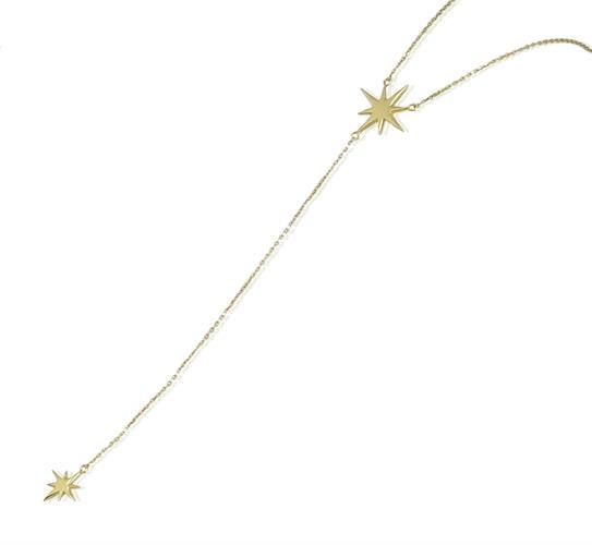 שרשרת עניבה זהב דקה כוכבים