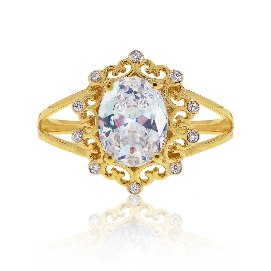 טבעת זהב בסגנון וינטאג' משובץ זרקון לבן ויהלומים 0.08 קראט