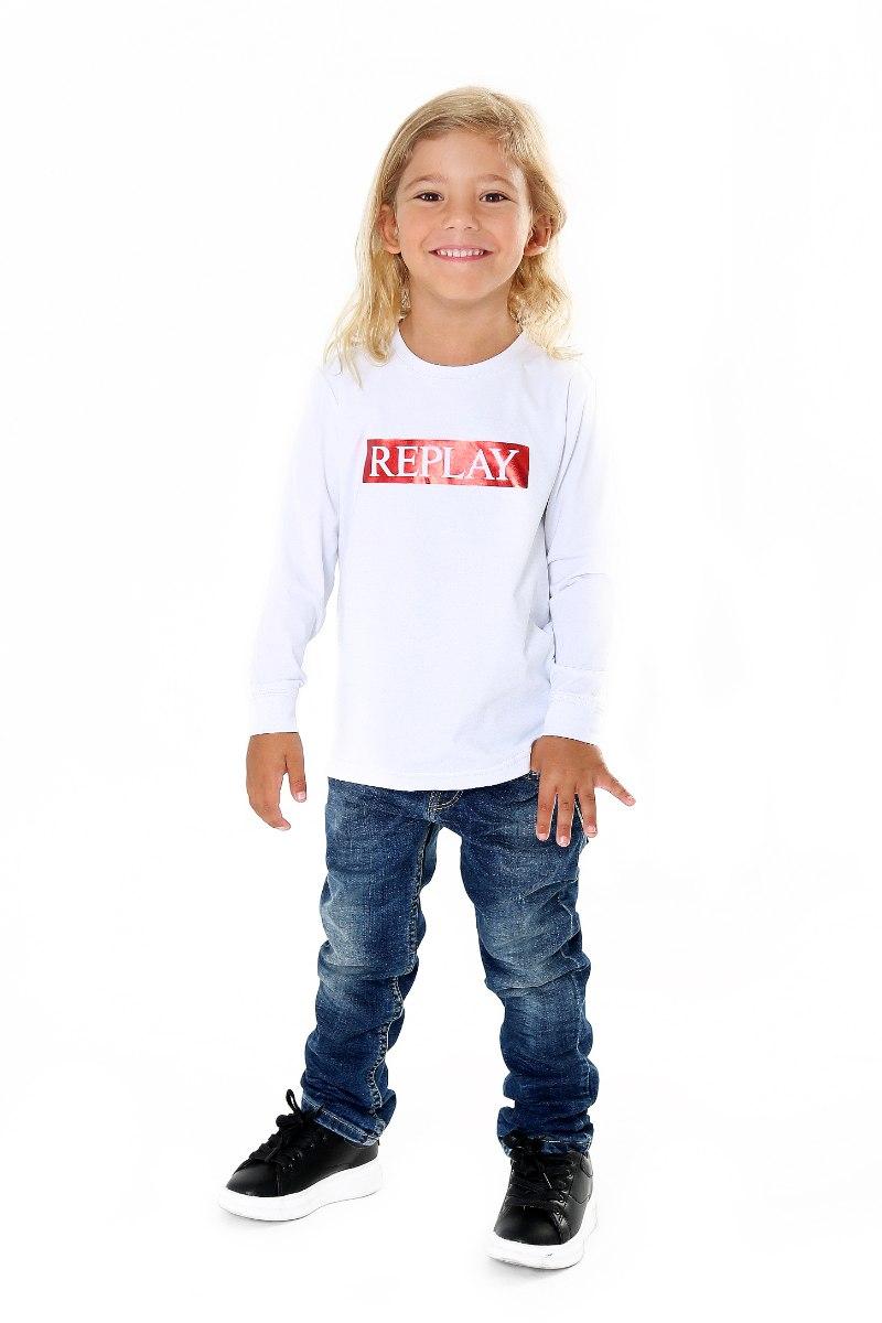 חולצת T לבנה כיתוב אדום REPLAY
