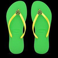 כפכפי לב גדול - ירוק/צהוב GREEN/YELLOW