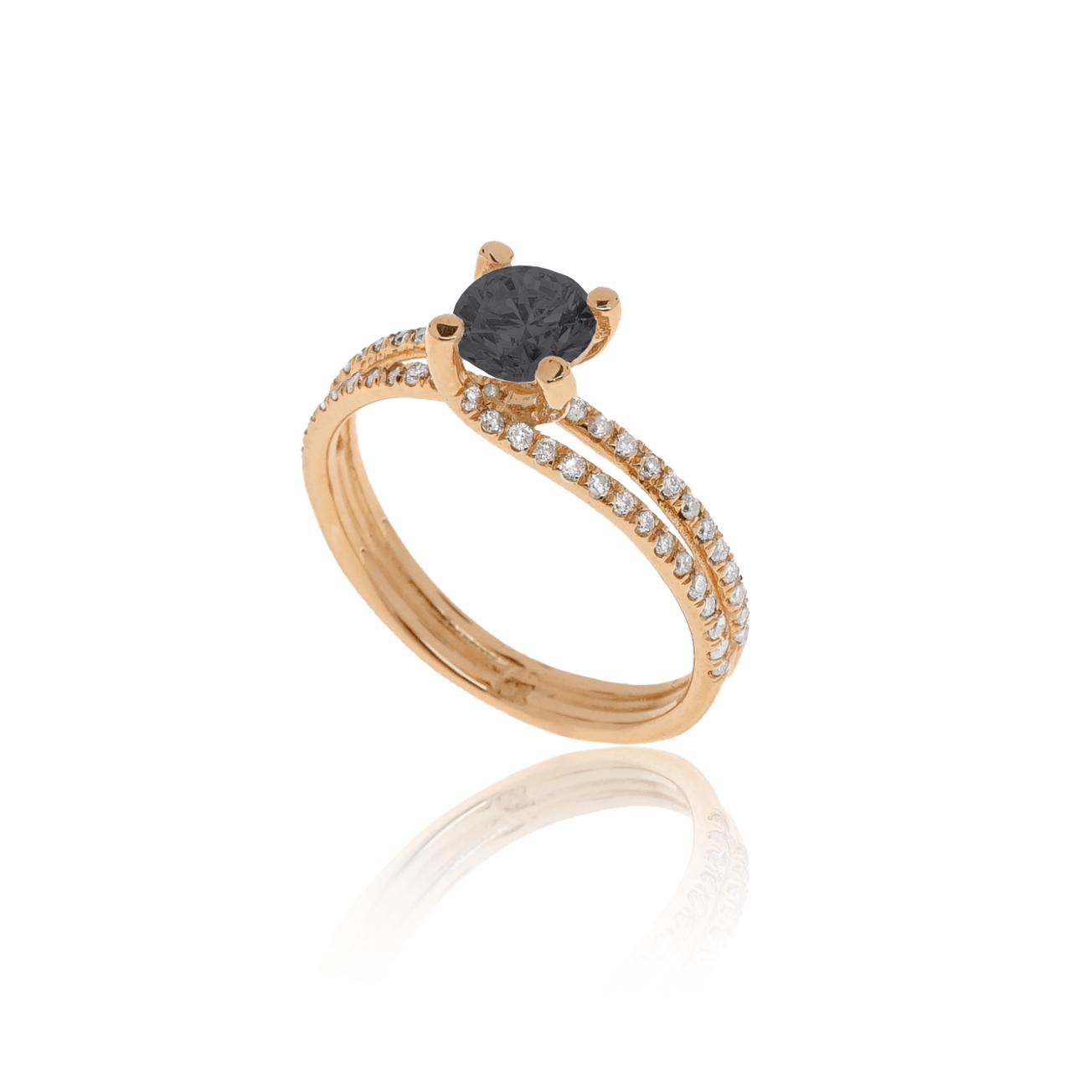 טבעת זהב ורוד ויהלום שחור