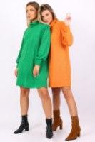 שמלת סריג גיזל ירוק/כתום