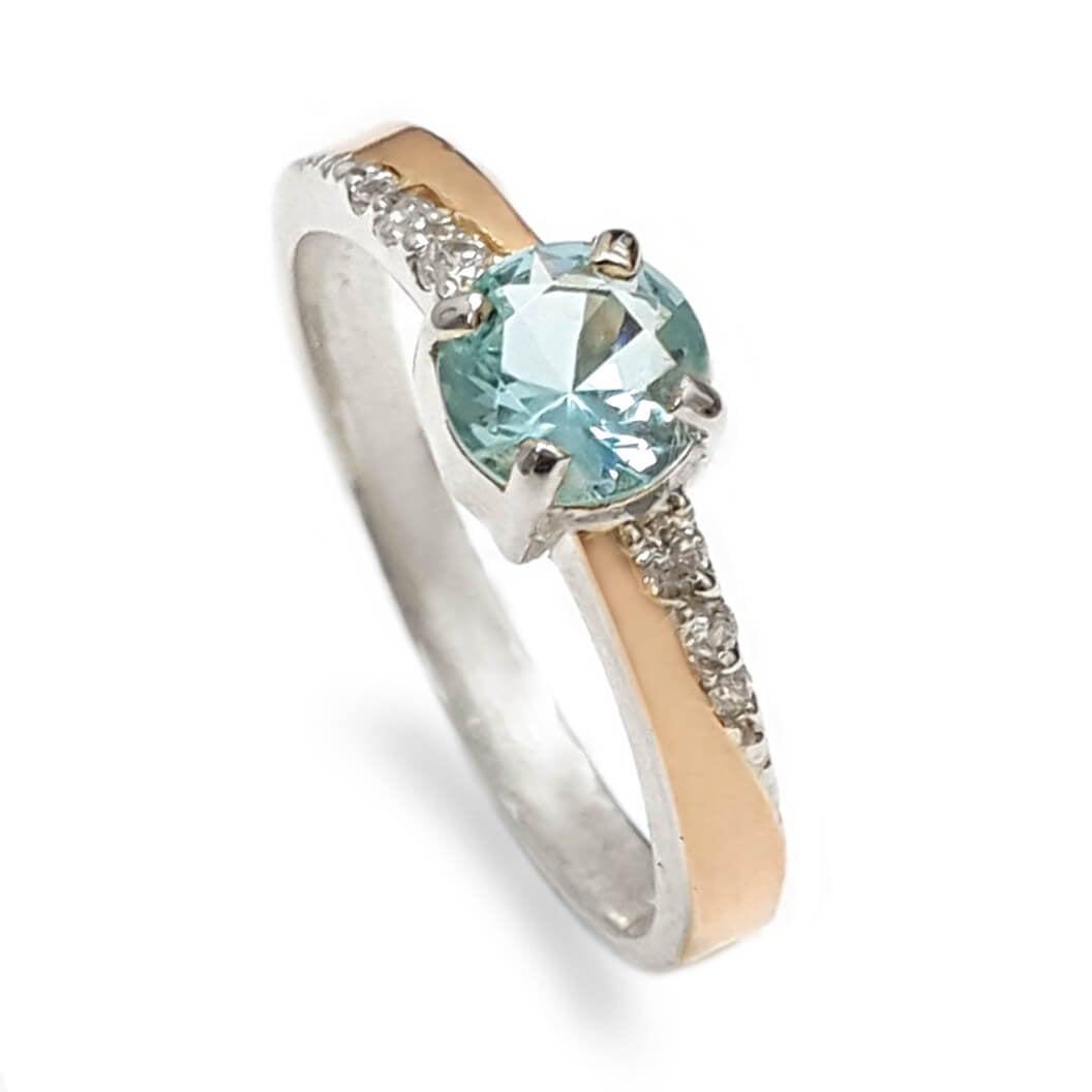 טבעת כסף מצופה זהב 9K משובצת אבן בלו טופז ואבני זרקון  RG5941 | תכשיטי כסף | טבעות כסף