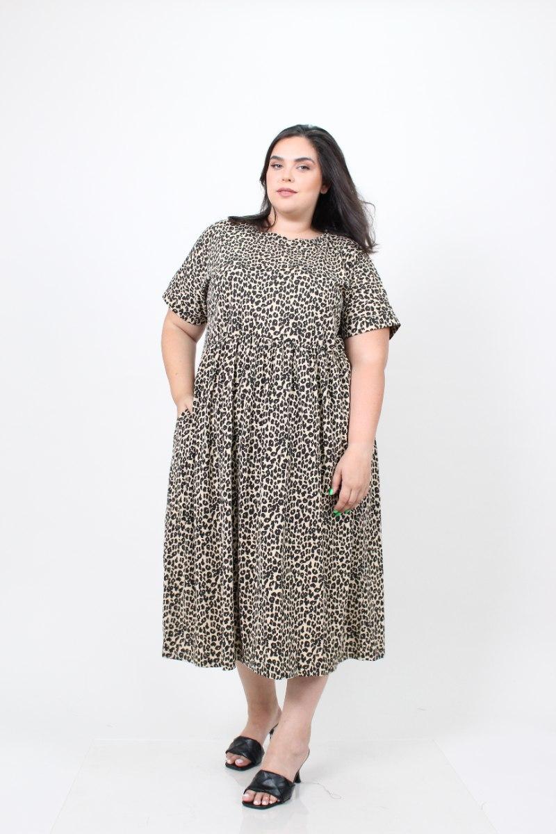 שמלת בריטני טריקו מנומר חום ED
