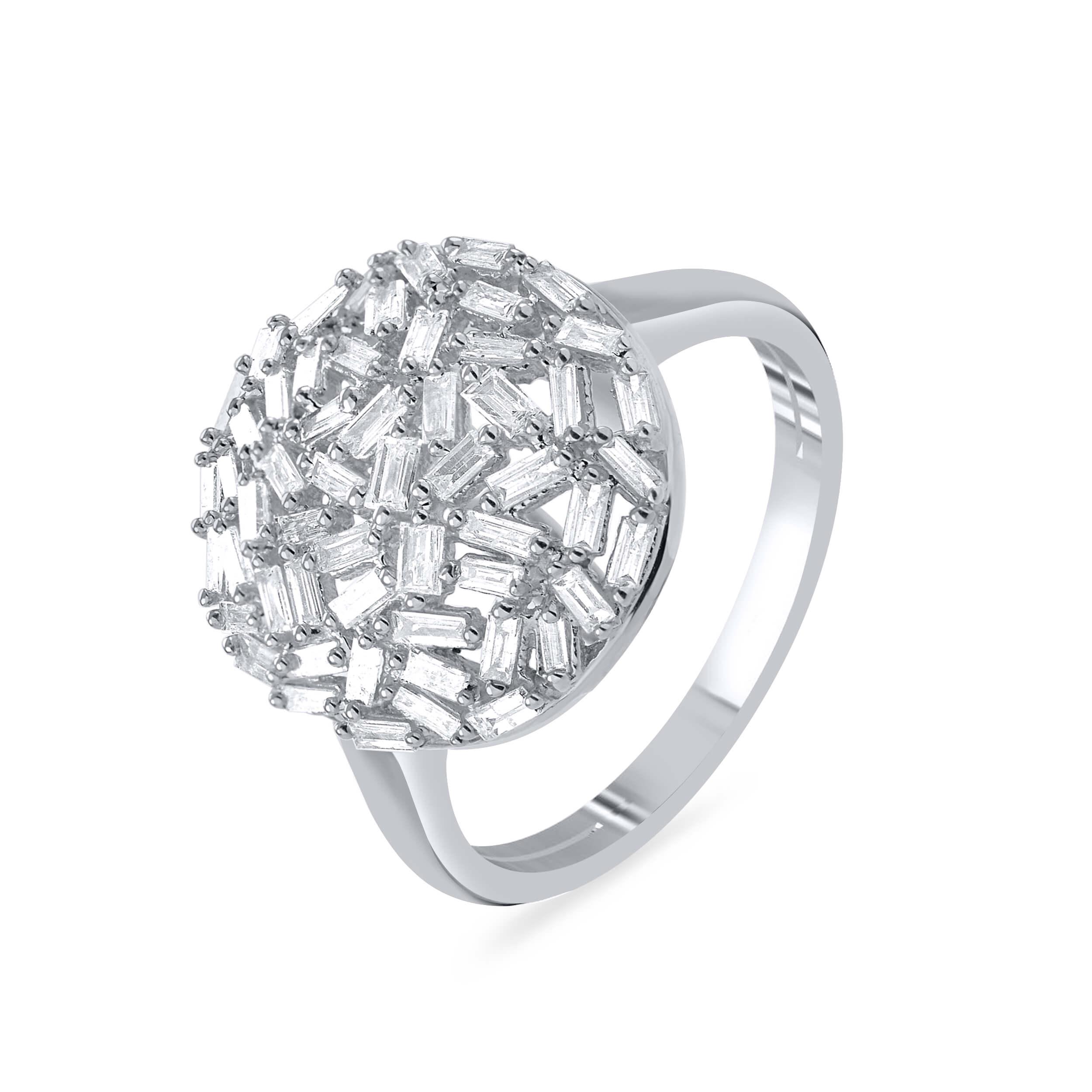 טבעת יהלומים זהב לבן 14 קראט