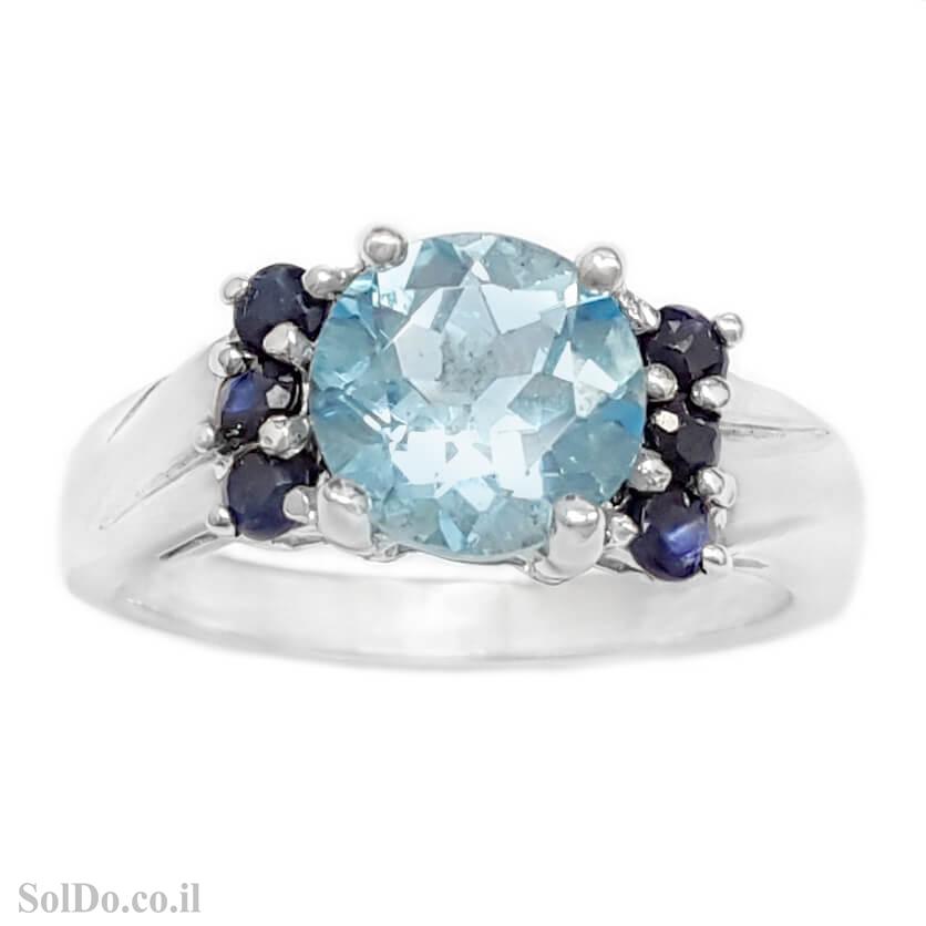 טבעת מכסף משובצת אבן טופז כחולה ואבני ספיר RG6124 | תכשיטי כסף 925 | טבעות כסף