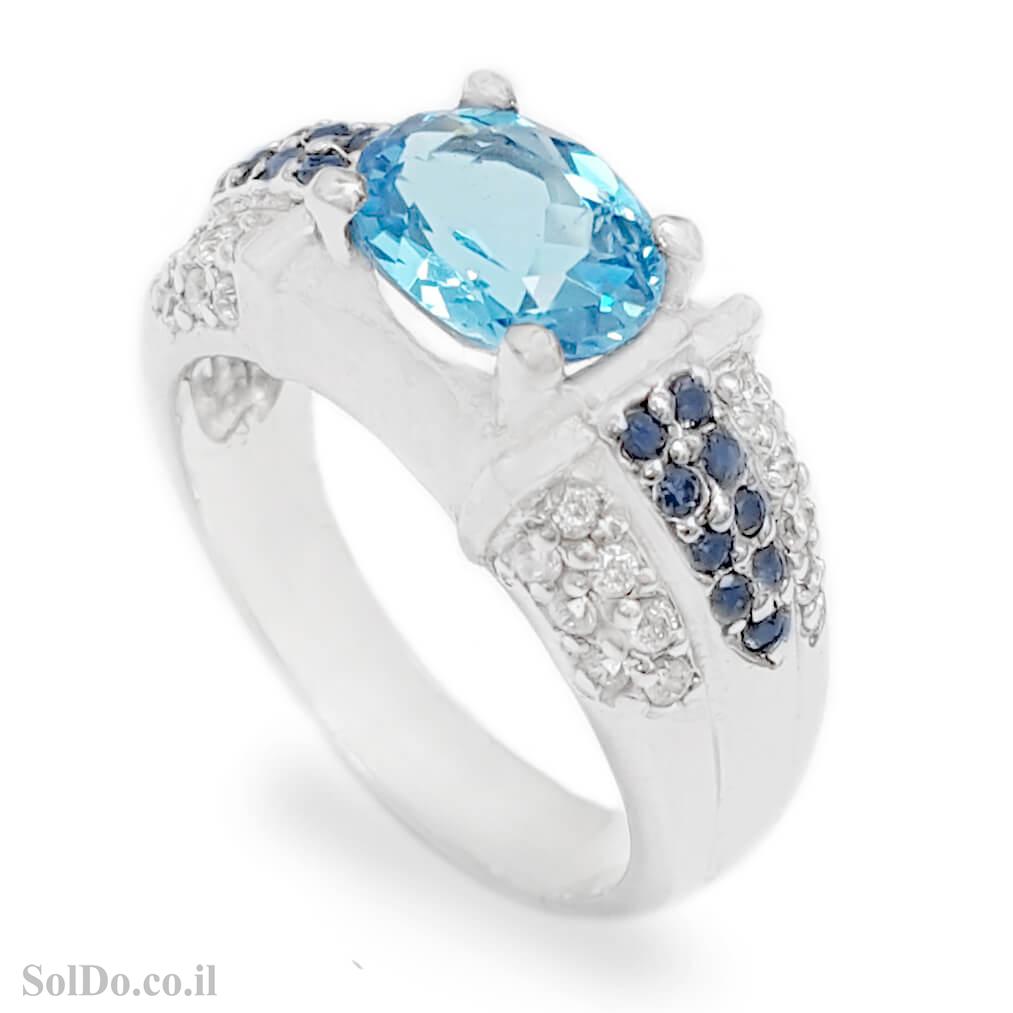טבעת מכסף משובצת אבן טופז כחולה ואבני ספיר RG6132 | תכשיטי כסף 925 | טבעות כסף