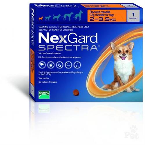 "NexGard Spectra חבילת 3 כדורים בטעם עוף נגד פרעושים וקרציות לכלבים במשקל 2-3.5 ק""ג"