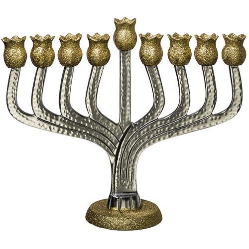 """חנוכיה אלומיניום מרוקע """"רימונים"""" עם קנים בגוון זהב נצנצים 25 ס""""מ"""