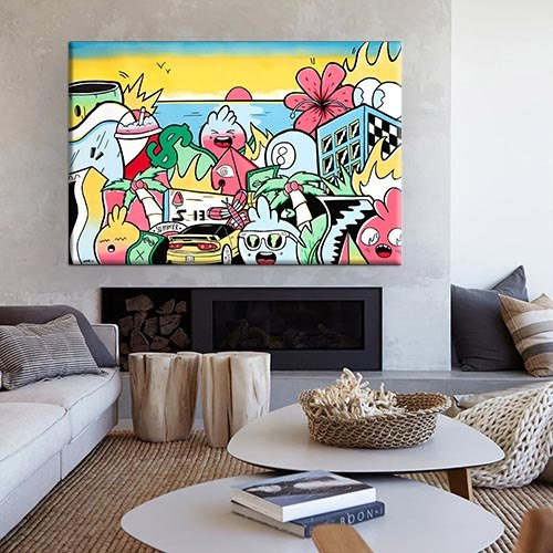 ציור גרפיטי צבעוני לחדר ילדים של האמן כפיר תג'ר