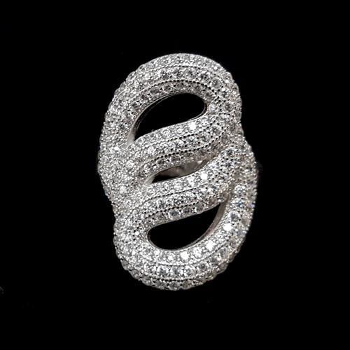 טבעת כסף משובצת זרקונים נוצצים  RG3237 | תכשיטי כסף 925