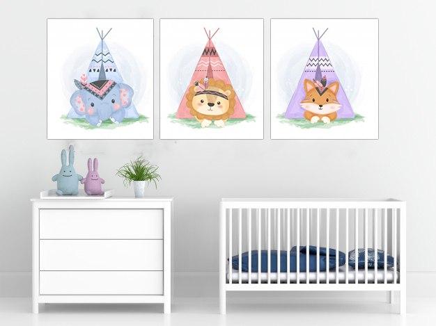 חדר ילדים דגם אוהל צבעוני