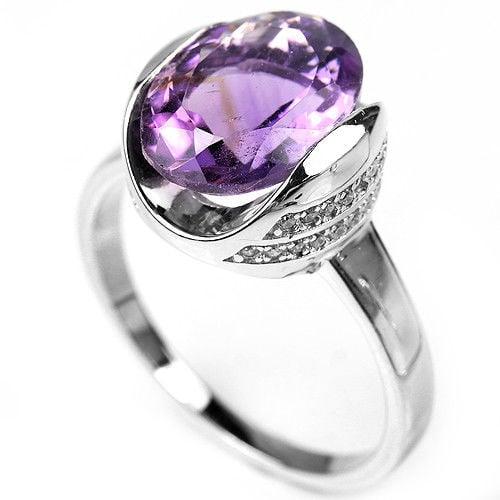 טבעת כסף משובצת אמטיסט סגול וזרקונים RG5615 | תכשיטי כסף 925 | טבעות כסף