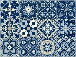 """מדבקות אריחים 15*15 ס""""מ אקלקטי כחול מלכות  TIVA DESIGN"""