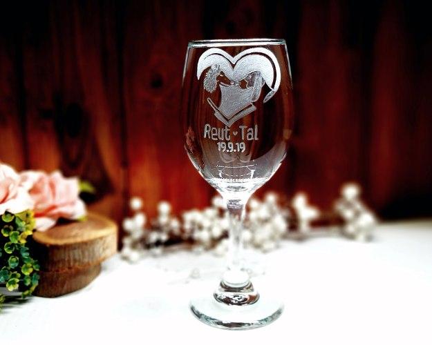 כוס לחופה בעיצוב אישי | כוס יין לחופה