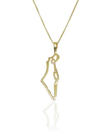 שרשרת זהב עם תליון ארץ ישראל משובץ יהלומים 0.02 קראט