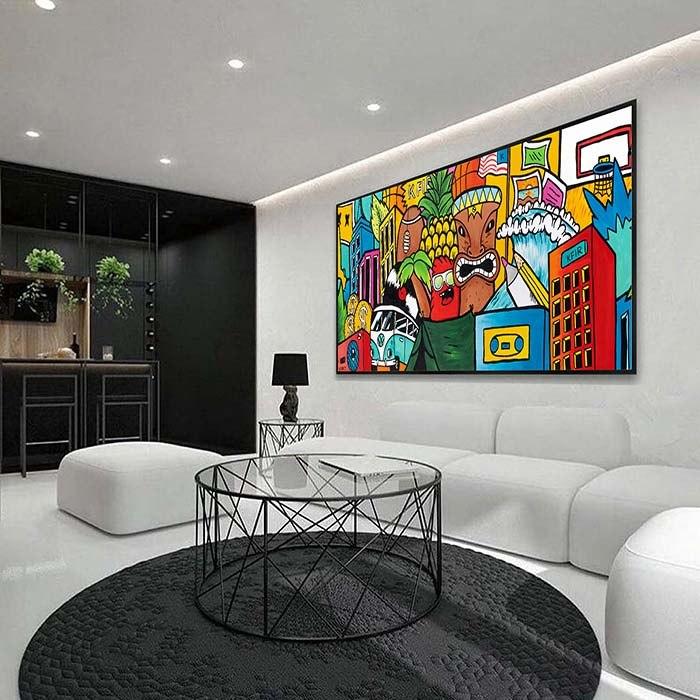 ציור פופ ארט צבעוני ללמשרד של האמן כפיר תג'ר