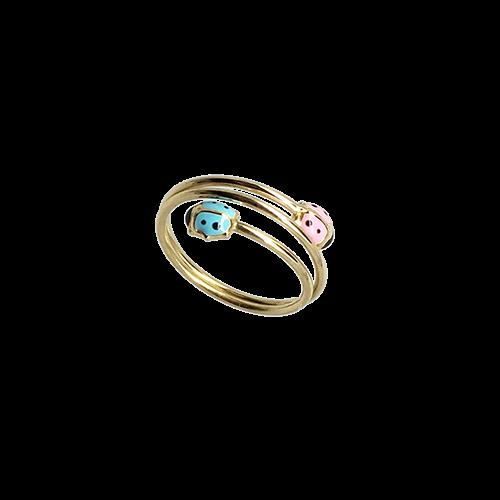 טבעת ילדות זהב צהוב 14K חיפושיות OP16130030702
