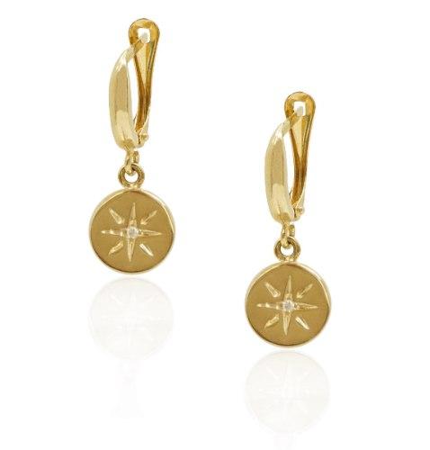 עגילי זהב עם כוכב קטן בשילוב חריטת לייזר ויהלום