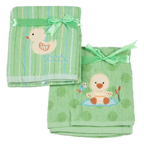 זוג מגבות פליטה לתינוק - ירוק