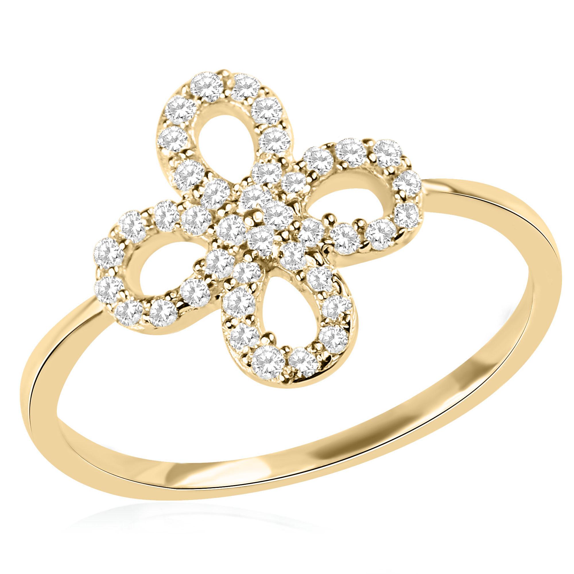 טבעת תלתן זהב צהוב 14 קראט משובצת יהלומים