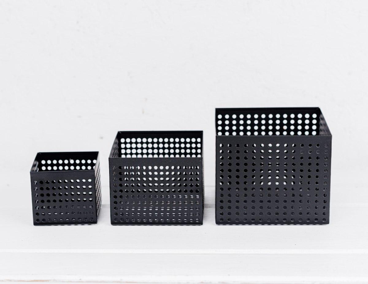 סט של 3 קופסה פתוחה / כלי ממתכת מרובע - שחור