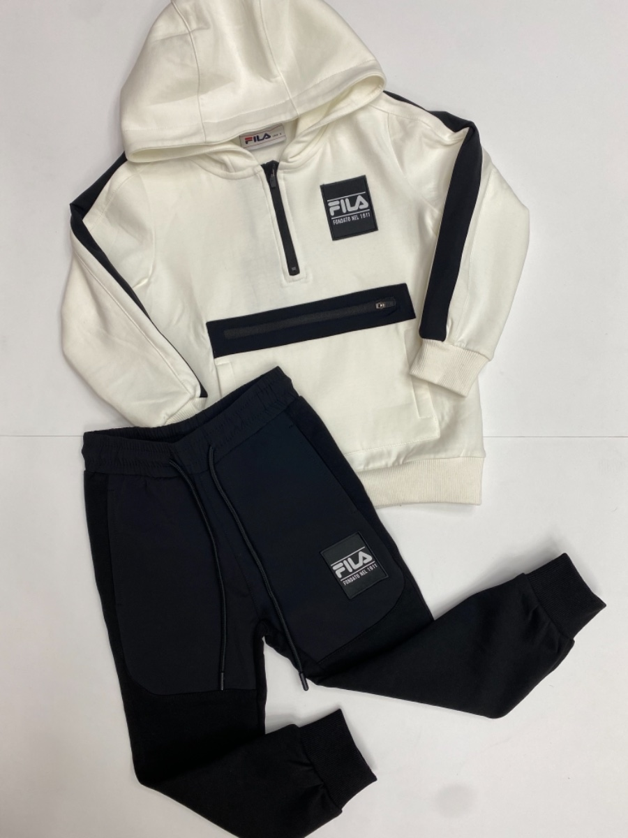 FILA חליפה לבנה שרוול שחור מידות 6-16