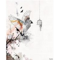 ציור של ציפור עפה מכלוב