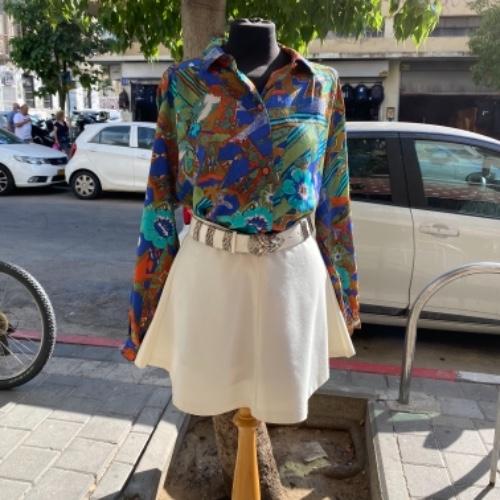 חצאית מיני בצבע לבן קרם מידה S/M