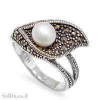 טבעת מכסף משובצת פנינה לבנה ומרקזטים RG5998