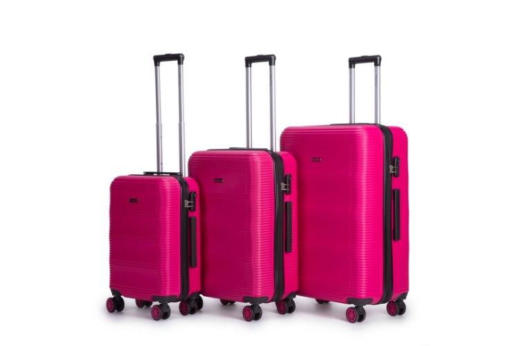 סט 3 מזוודות איכותיות SWISS  - צבע ורוד/כתום