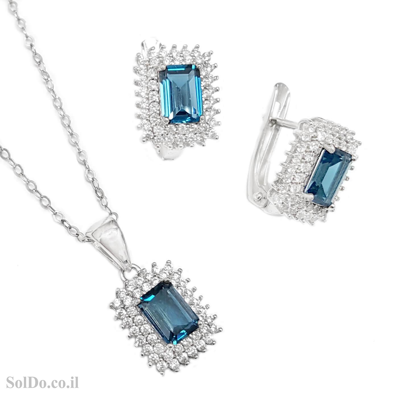 עגילים ותליון מכסף משובצים אבני טופז כחולה וזרקונים S1651