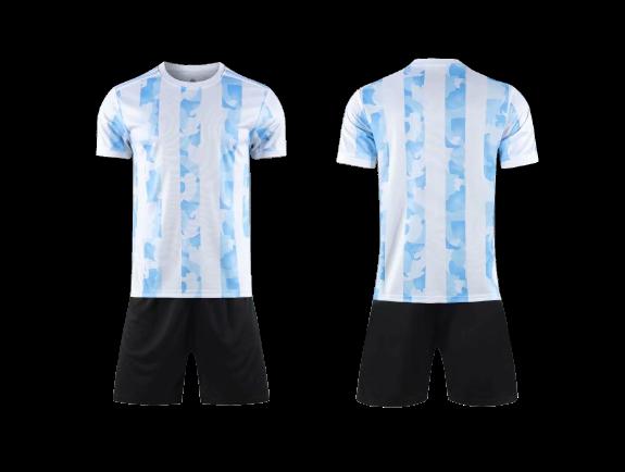 תלבושת  כדורגל צבע תכלת דמוי ארגנטינה  (לוגו+ספונסר שלכם)