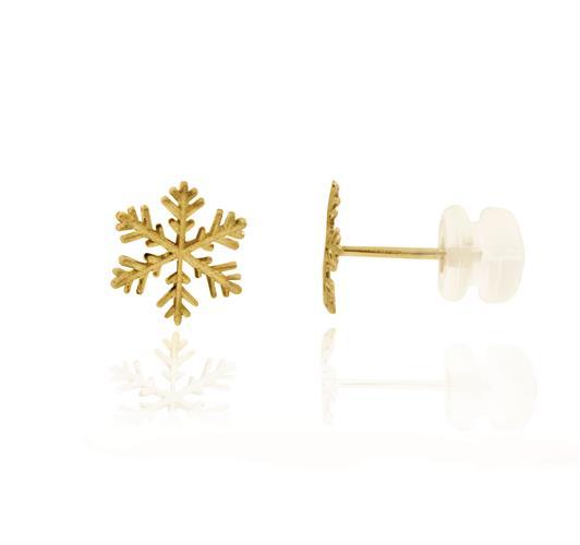 עגילי זהב צהוב 14 קרט בסגנון פתיתי שלג