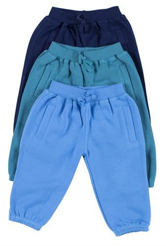 שלישיית מכנסי פוטר כחול-טורקיז-תכלת