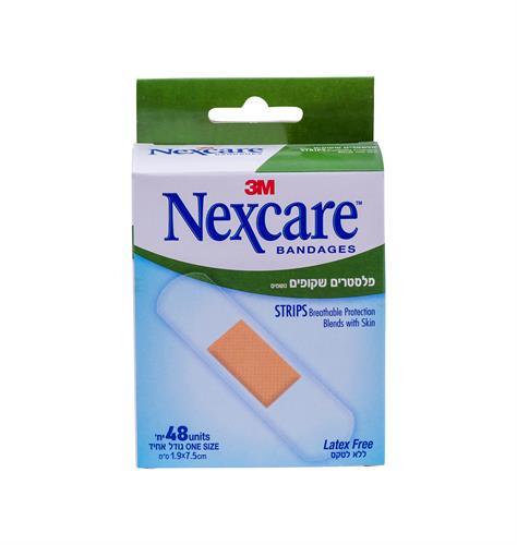 Nexcare  פלסטרים שקופים נושמים 48 יחידות בגודל אחיד