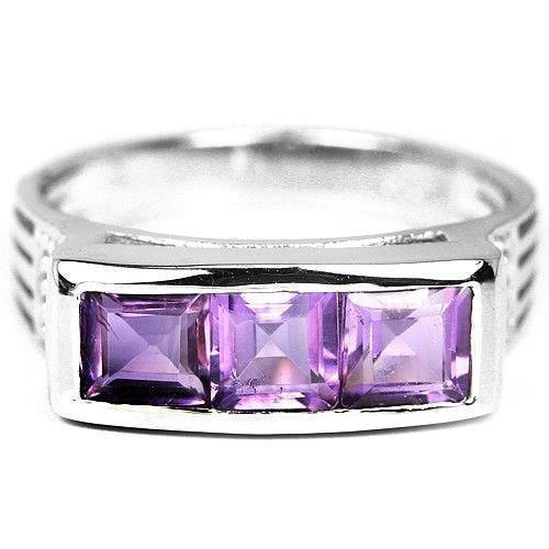 טבעת כסף משובצת 3 אבני אמטיסט סגול מרובעות RG5594 | תכשיטי כסף 925 | טבעות כסף