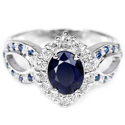 טבעת כסף משובצת אבני ספיר כחול ואבני זרקון נוצצות RG5514 | תכשיטי כסף 925