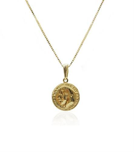 תליון מטבע זהב 14 קרט אמיתי