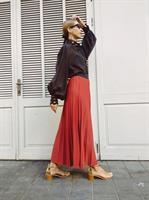 חצאית פליסה - בריק כתום