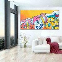 ציור גרפיטי צבעוני לסלון של האמן כפיר תג'ר