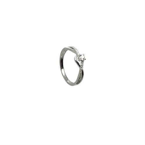טבעת אירוסין זהב לבן 14K יהלום מרכזי ויהלומים קטנים MY09160145310