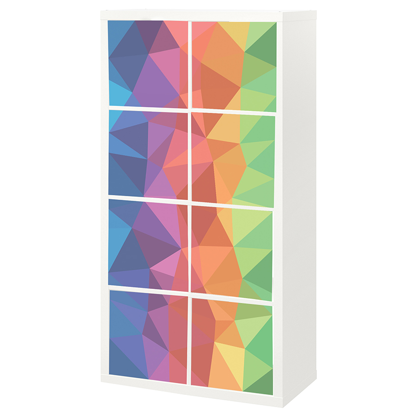 8 יח' טפט להדבקה על דלת כוורת (KALLAX)- משולשים אורגמי צבעוני