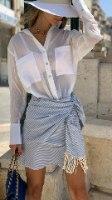 חצאית מעטפת מיני פסים כחול לבן