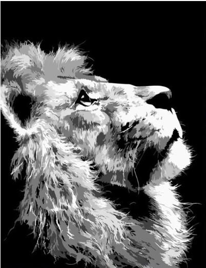 צביעה לפי מספרים - אריה בשחור לבן