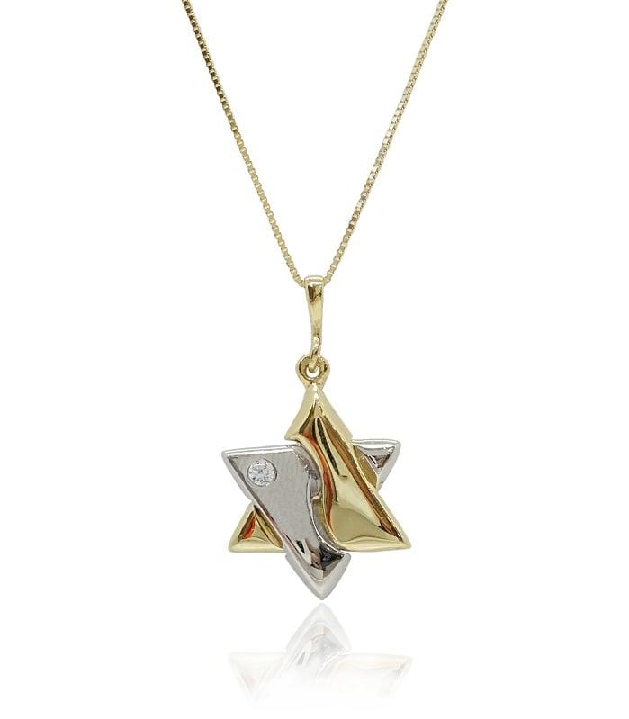 שרשרת ותליון מגן דוד זהב לבן צהוב משולב וזרקון